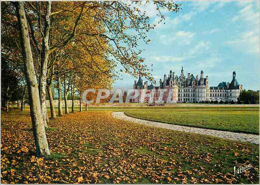 Moderne Karte Chambord Loir et Cher Le parc et la facade nord ouest du chateau 0