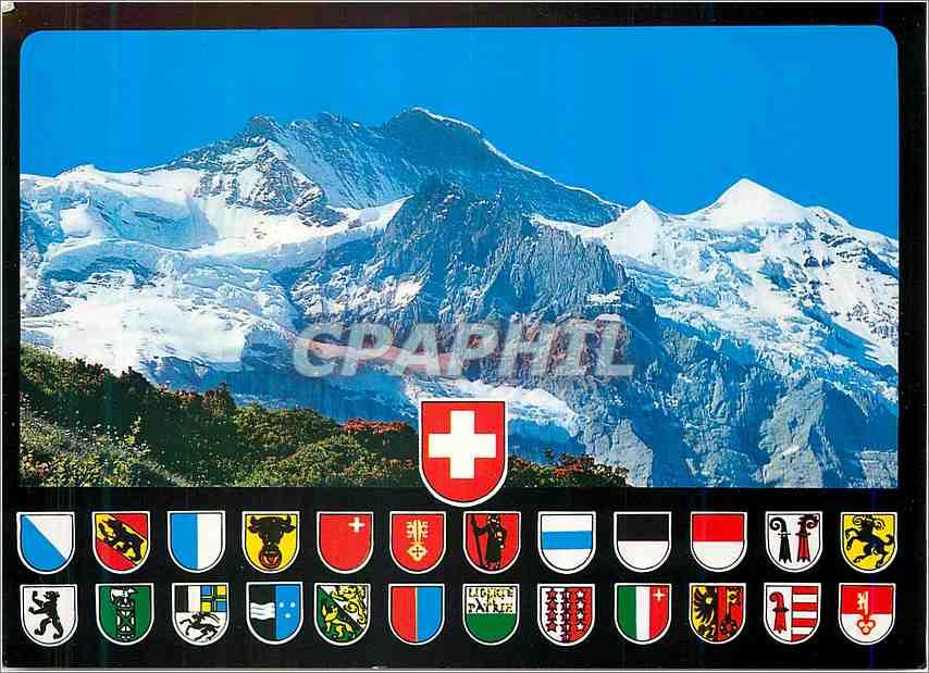 Moderne Karte Berner Oberland Vue sur la Jungfrau 0