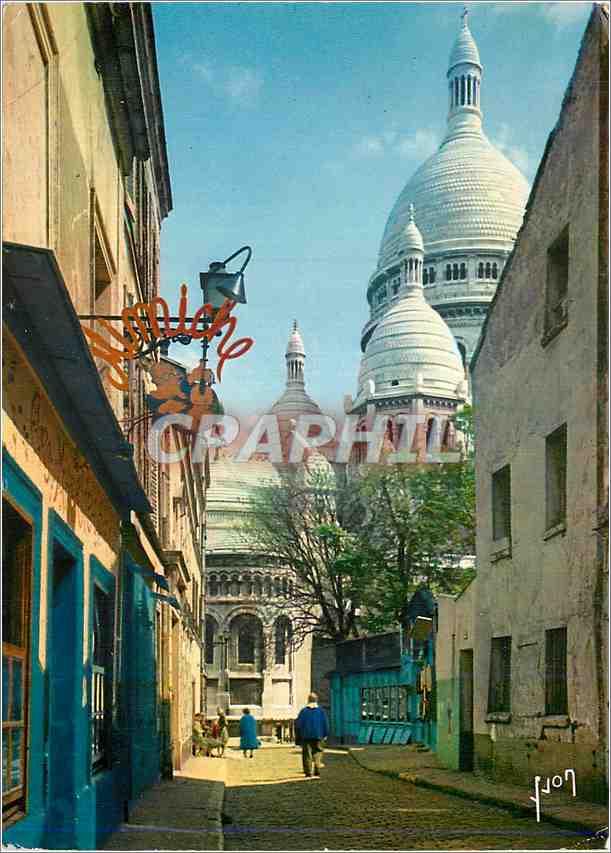 Moderne Karte Paris La Basilique du Sacre Coeur vue de la rue du Chevalier de la Barre 0