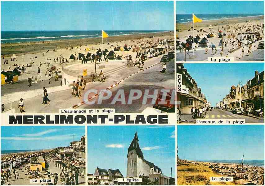 Moderne Karte Merlimont Plage Pas de Calais L'esplanade et la plage L'avenue de la plage L'eglise 0