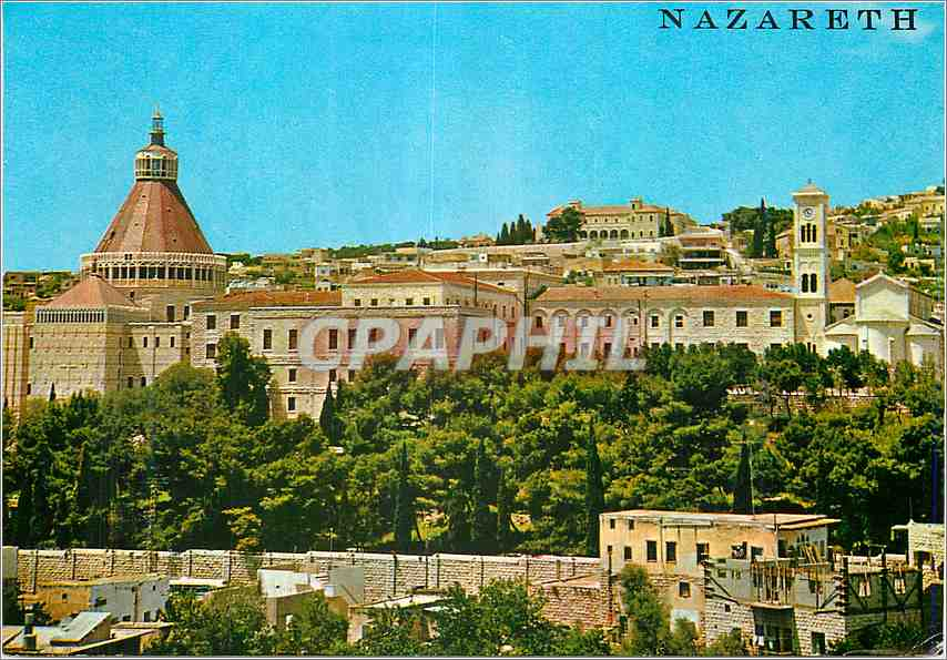 Moderne Karte Nazareth vue partielle avec l eglise de l Annonciation 0