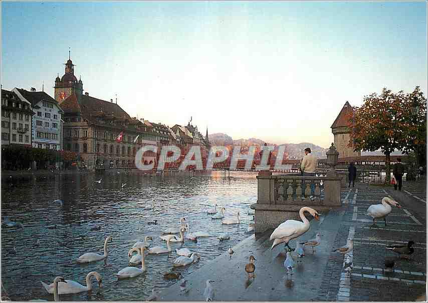 Moderne Karte Luzern Blick auf Rathaus und Kapellbrucke 0