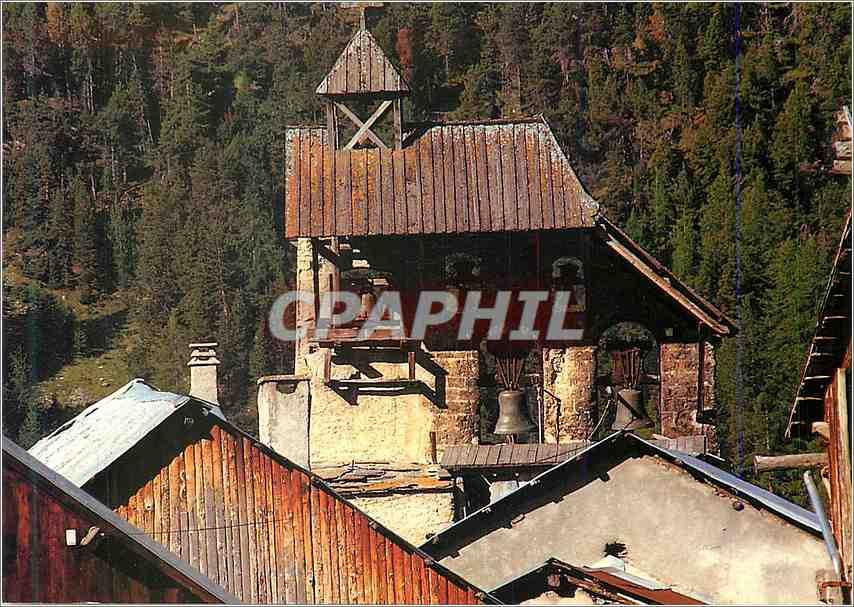 Moderne Karte Hautes Alpes Le Queyras Ceillac Le clocher de l eglise Saint Sebastien 0