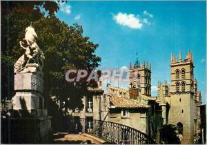 Moderne Karte Montpellier Herault La fontaine des Licornes et les tours de la cathedrale Saint Pierre