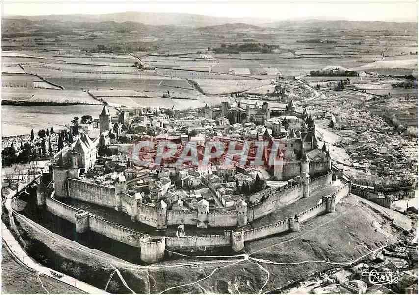 Moderne Karte Carcassonne Aude Vue generale de la Cite 0