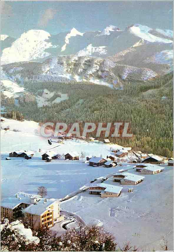 Moderne Karte Saint Jean de Sixt Hte Savoie Village de Forgeassoud et la chaine des Aravis 0
