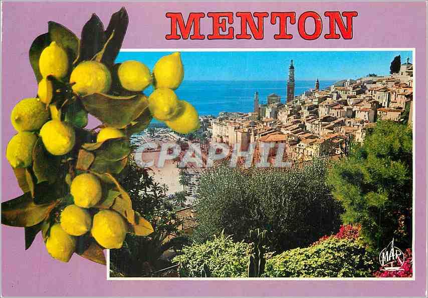 Moderne Karte Menton Perle de France Echappee sur la Vieille Ville 0