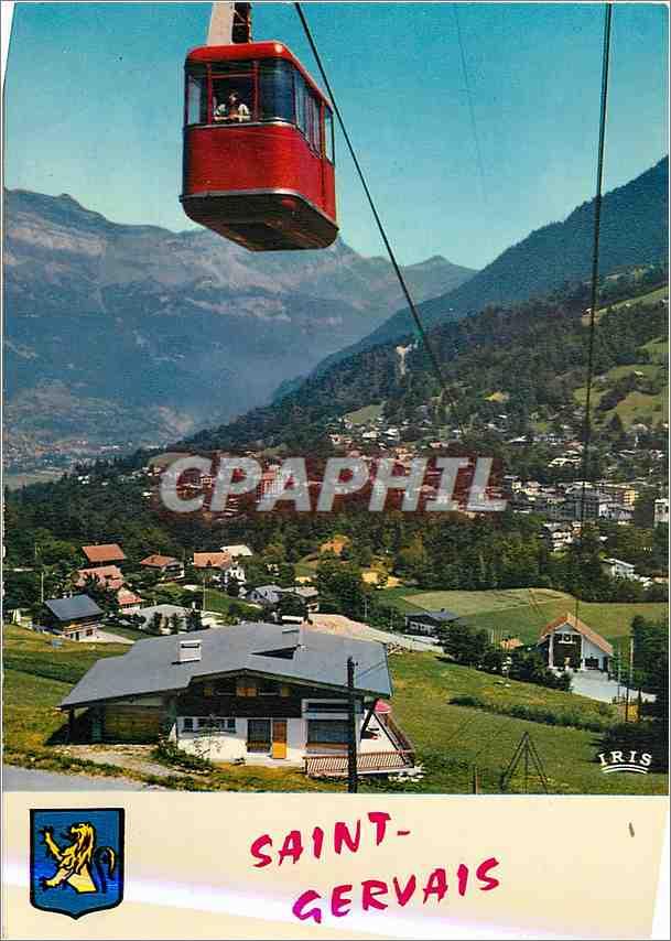 Moderne Karte Saint Gervais les Bains (Hte Savoie) Vue Generale et Telepherique Bettex Mont d'Arbois 0