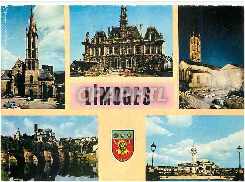 Moderne Karte Limoges (Haute Vienne) L'Eglise Saint Pierre du Queyroix L'Hotel de Ville L'Eglise Saint Michel 0