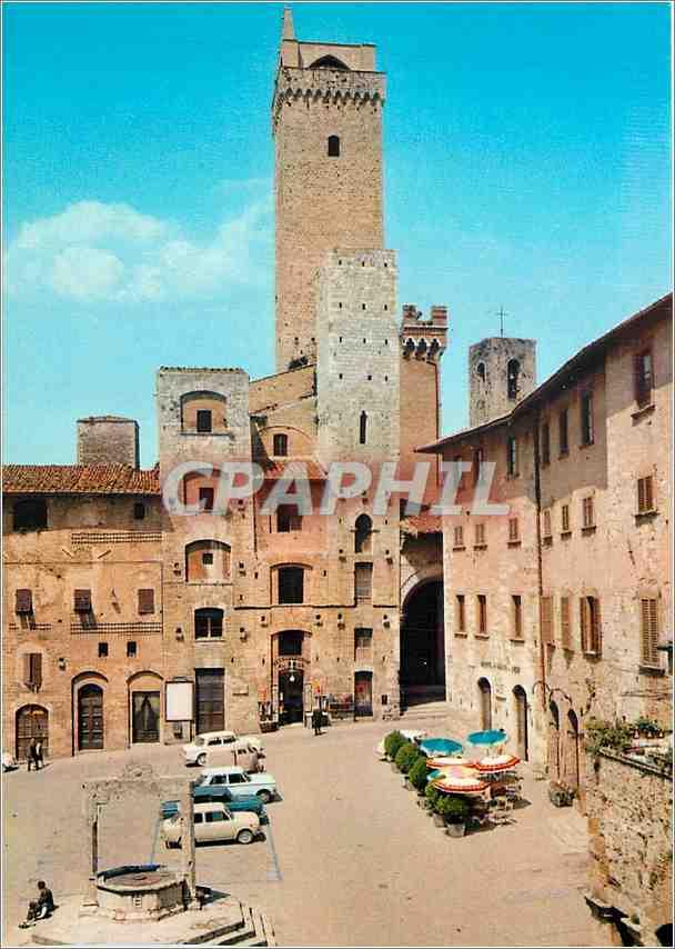 Moderne Karte Citta Di S Gimignano (Siena) Place Della Cisterna avec Tours Ardinghelli 0