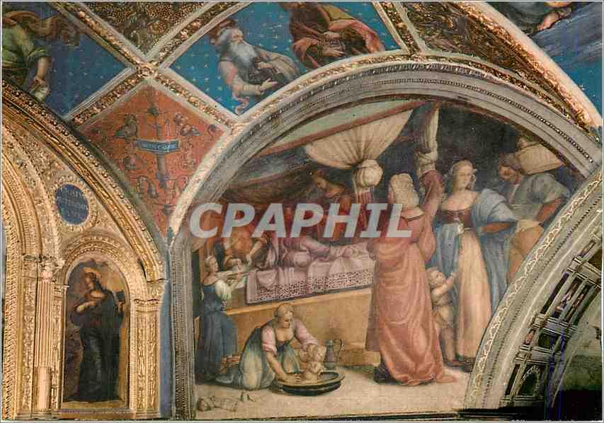 Moderne Karte Perugia Chapelle de St Jean Baptiste la Naissance de St Jean Fresque 0