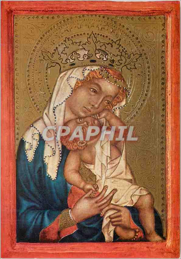 Moderne Karte La Vierge Marie avec l'Enfant Bohmischer Meister um 1360 Staatliche Kunsthalle Kartsrube 0