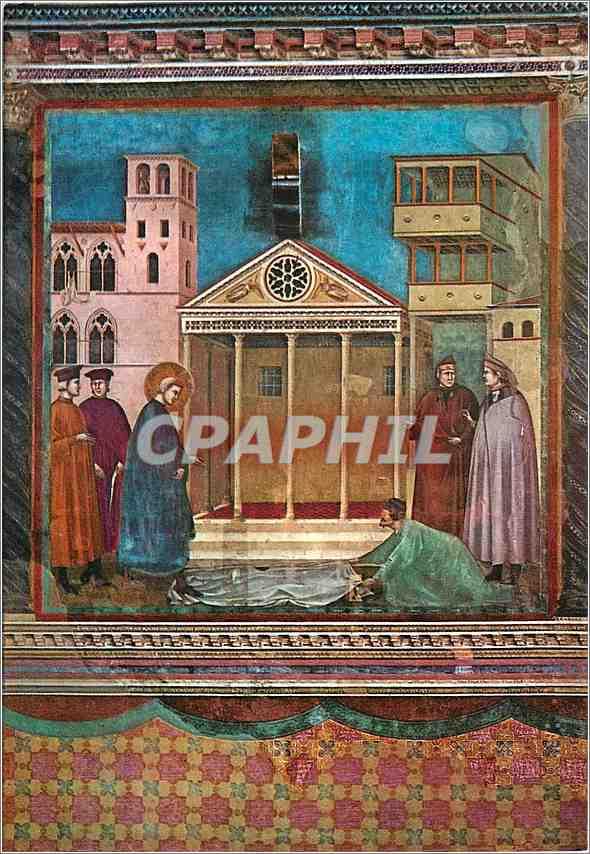 Moderne Karte Assisi Basilica di S Francesco (Chiesa Superiore) Saint Francois Jeune encore Recoit l'Hommage P 0