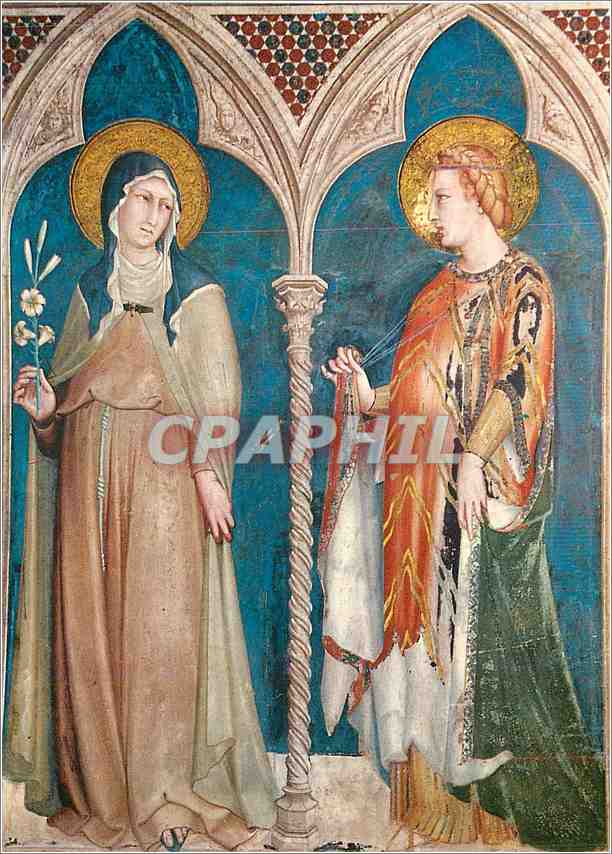 Moderne Karte Assisi Basilica di S Francesco (Chiesa Superiore) Sainte Claire et Sainte Elisabeth 0