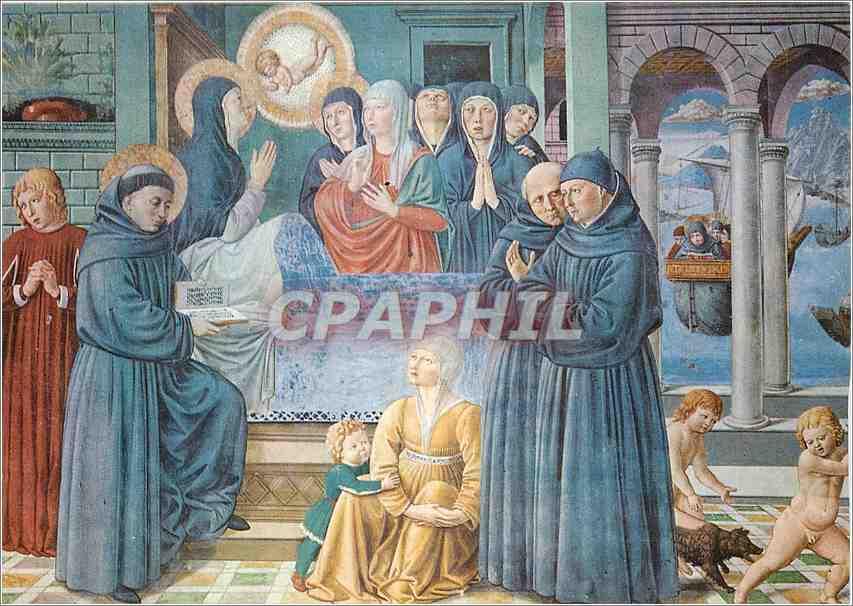 Moderne Karte S Gimignano Chiesa S Agostino Mort de Ste Monique (Bs Gozzoli 1465) 0