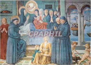 Moderne Karte S Gimignano Chiesa S Agostino Mort de Ste Monique (Bs Gozzoli 1465)