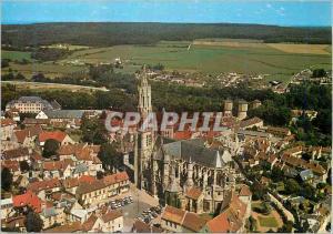 Moderne Karte le Valois Senlis (Oise) Vue Aerienne Flane Sud de la Cathedrale
