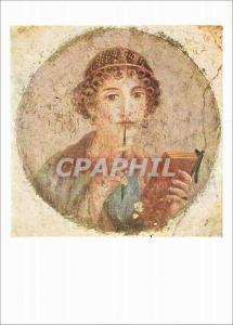 Moderne Karte Pompeian Fresco Girl Writing Neapel Nationalmuseum