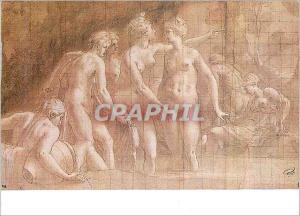 Moderne Karte Paris Musee du Louvre Cabinet des Dessins Francesco Primatice (1504 1570) Diane au bain (dessin
