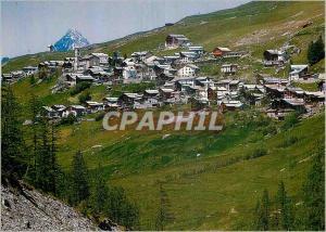Moderne Karte Hautes Alpes Queyras Vue generale de St Veran La plus haute commune d'Europe et au fond le Grand
