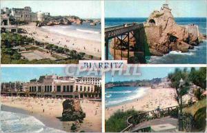 Moderne Karte Biarritz La Plage et le Casino Bellevue Rocher de la vierge La grande plage La plage vers le pha