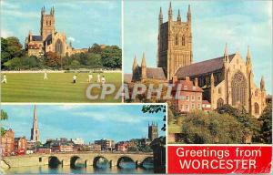 Moderne Karte Greetings from Worcester Cricket Ground and Cathedral River