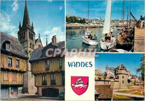 Moderne Karte Vannes (Morbihan) La Bretagne en Couleurs Les Vieux Quartiers Les Remparts et le Port Bateaux