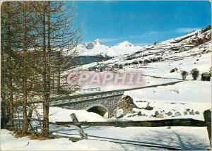 Moderne Karte Molines en Queyras (Hautes Alpes) Altitude 1800 metres vue Generale et le Pont des Marrou
