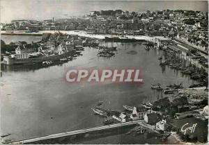 Moderne Karte Concarneau (Finistere) En Bretagne Vue aerienne du Port et de la Ville Close Bateaux