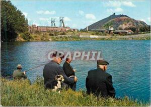 Moderne Karte Paysage Minier Terrils La Mine en Activite peche Pecheur