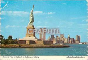 Moderne Karte Liberty Island New York Dramatic View to the South of the Statue of Liberty