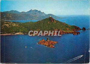 Moderne Karte L'Ile d'Or La Corniche d'Or et ses Roches Rouges Cote d'Azur Le Semaphore du Dramont Au fond L'E