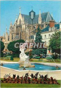 Moderne Karte Troyes (Aube) Capitale de la Champagne Le jardin de la prefecture avec le Papt groupe en marbe d