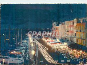Moderne Karte La Cote des Maures Saint Tropez la nuit Le port et le quai Jean Jaures au loin les lumieres de S