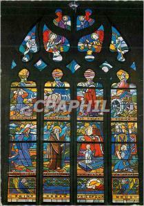 Moderne Karte La Bretagne Locronan (Finistere) Vitrail de la Chapelle du Penity retracant la vie de Saint Rona
