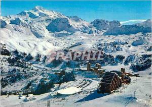 Moderne Karte La plagne (Savoie) vue panoramique generale au fond le sommet de bellecote
