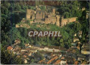 Moderne Karte Heidelberg La vieille ville avec le fameux chateau