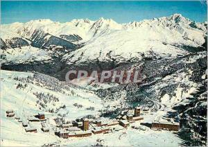 Moderne Karte Savoie La Plagne vue d'ensemble de la station et le massif du Mont Blanc