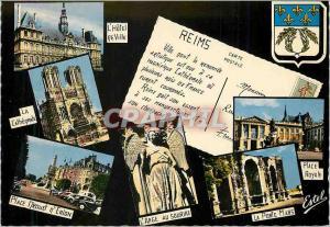 Moderne Karte Souvenirs de reims (marne) L'hotel de ville La cathedrale Place Drouet d'Erlon L'ange au sourire