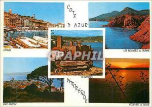 Moderne Karte Cote d azur souvenir de la cote d azur Cannes Saint Tropez Les rochers du Trayas Coucher de sole