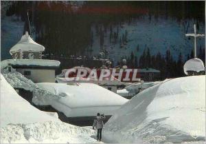Moderne Karte Savoie pralognan la vanoise parc de la vanoise ambiance hivernale le clocher sous la neige