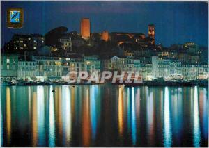 Moderne Karte Cannes la nuit le quai saint pierre et le suquet