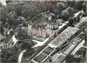 Moderne Karte Rigny usse (i et l) les chateaux de la loire vue aerienne le chateau la chapelle et la pelouse