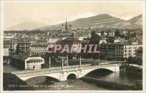 Moderne Karte Geneve vue sur la ville et le mt blanc