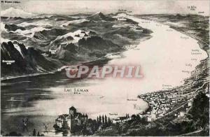 Moderne Karte Lac Leman Vue panoramique sur le Lac Leman le Chateau de Chillon Montreux et les Alpes