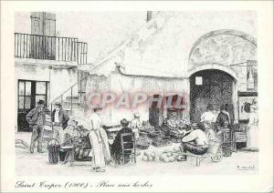 Moderne Karte Saint Tropez a la Belle Epoque Place aux Herbes Dessin de Maurice Jaudel