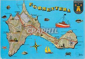 Moderne Karte Formentera Baleares Espana