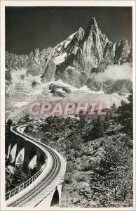 Moderne Karte Chamonix (Hte Savoie) L'Aiguille du Dru et le Chemin de fer a Cremaillere de Montenvers