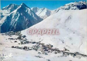 Moderne Karte Les Deux Alpes (Isere) Vue d'Ensemble de la Station et des Pistes au fond le Massif du Pelvoux