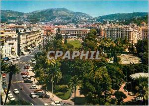 Moderne Karte Nice (Alpes Maritimes) Reflets de la Cote d'Azur Les Jardins Albert Ier Au Loin La Place Massena